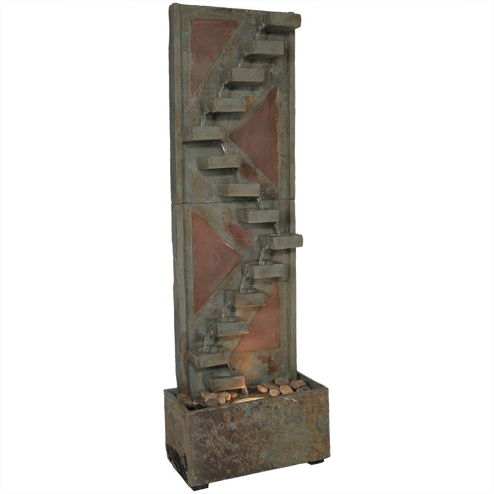 Sunnydaze Descending Staircase Outdoor Slate Water Fountain with Copper Accents and LED Spotlight, 48 Inch Tall, Submersible Electric Pump Included