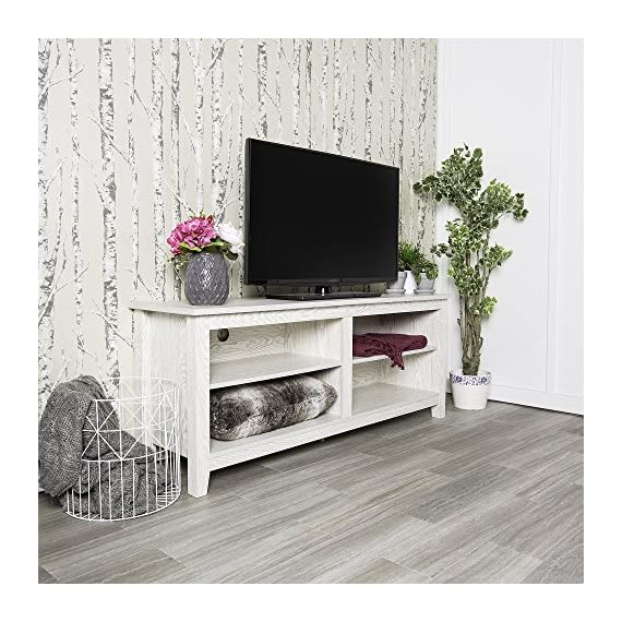 Home Accent Furnishings Lucas 58 Inch Television Stand in White Wash - Transitional and Classic Look High-grade MDF and laminate construction Rich, textured white wash looking finish - tv-stands, living-room-furniture, living-room - 61NVSCUFxKL. SS570  -