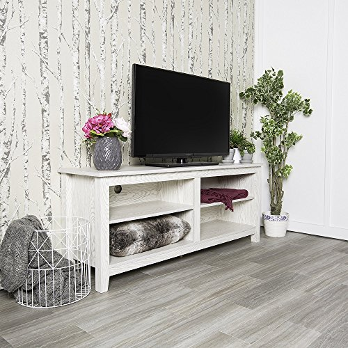 New 58 Inch Wide White Wash Finished Television Stand ()