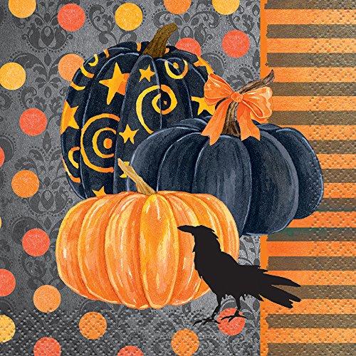 Painted Pumpkin Halloween Beverage Napkins
