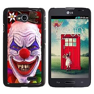 TopCaseStore / la caja del caucho duro de la cubierta de protección de la piel - Clown Evil Smile Devil Red Eyes Creepy - LG Optimus L70 / LS620 / D325 / MS323