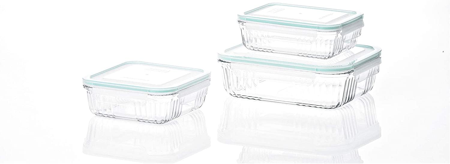 Glasslock Retro Oven and Microwave Safe Glass Food Storage Container 6 Piece Set