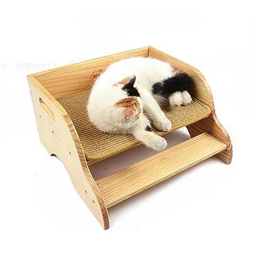 PLHF mascota Cama de madera maciza Cama de gato Productos para mascotas Alfombra para gatos Cama de tienda Cama de pino de Nueva Zelanda 32 * 41cm: ...