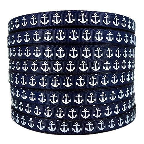 50 Yards 3/8 Inch Nautical Anchor Printed Navy Blue Grosgrain Ribbon -