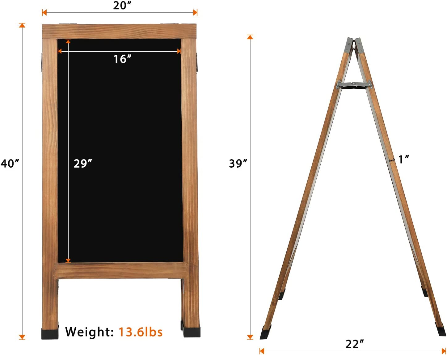 ORIENGEAR 40 x 20 Inches A Frame Chalkboard Sign Large Sturdy Wooden Display Sidewalk Chalkboard Sign Sandwich Board