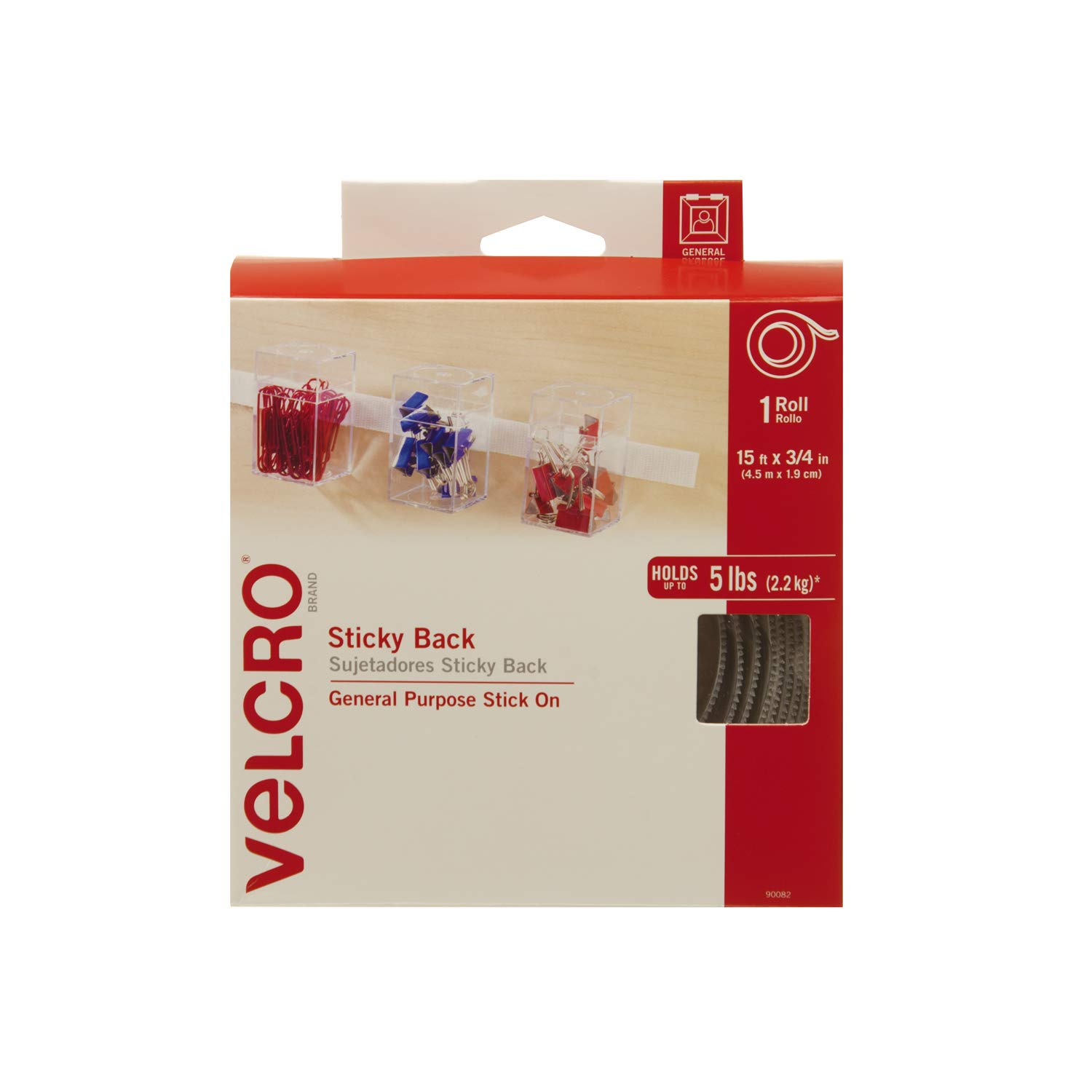 VELCRO Brand Sticky Back | Hook and Loop Fasteners | Keep Things Organized and Connected | 15ft x 3/4in | Tape,Red 90085