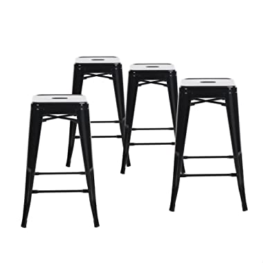 Buschman Set of Four Black 24 Inches Counter Height Tolix-Style Metal Bar Stools, Indoor/Outdoor, Stackable