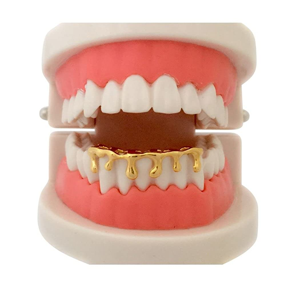 Custom Hip Hop 14K Gold GP Teeth Bottom Lower Drip Dripping Grillz w/ Mold Kit Big Dawgs Bling 001-DRIP