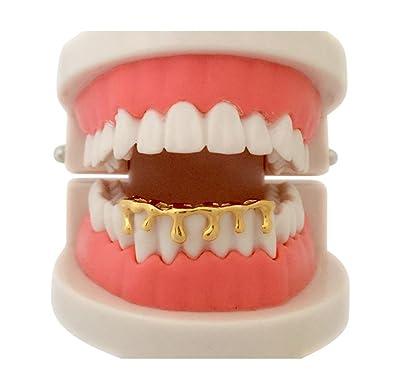 Custom Hip Hop 14K Gold GP Teeth Bottom Lower Drip Dripping Grillz w/ Mold  Kit