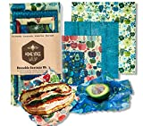 Honeybee - Beeswax Wrap For The Conscious Human   Eco-Friendly, Washable, Organic & Reusable   100% BPA Free   Perfect Food Storage   Available in Pack of 4 with Different Sizes   Lasts for 1 Year
