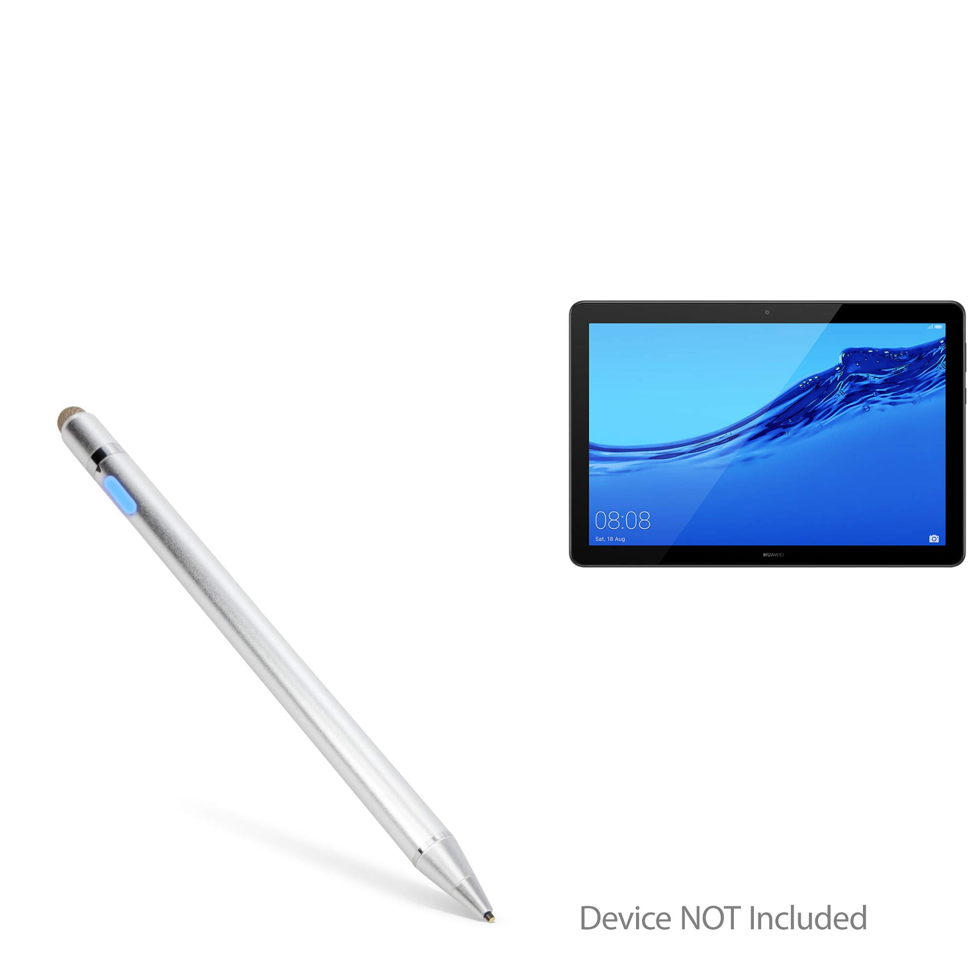 Huawei MediaPad T5 Stylus Pen, BoxWave® [AccuPoint Active Stylus] Electronic Stylus with Ultra Fine Tip for Huawei MediaPad T5 - Metallic Silver