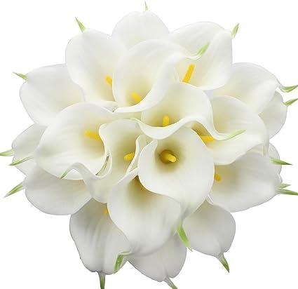 Amazon Com Duovlo 20pcs Calla Lily Bridal Wedding Bouquet Lataex