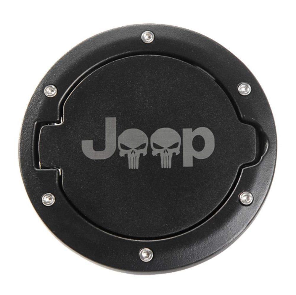 Fuel Filler Door Cover Gas Fuel Tank Cap Cover Good Tightness for 2007-2017 Jeep Wrangler JK Skull