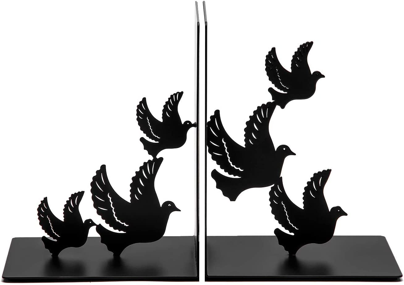 Bookends Decorative for Shelves, Bird Book Ends Dove Style Black Metal Bookends Desk Organizer for Office Heavy Duty Stylish Bookends Black