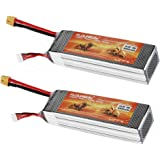 FLOUREON 2Packs 4S 14.8V 5500mAh 35C Lipo RC Battery Packs with XT60 Plug for RC Helicopter RC Airplane RC Car RC Truck RC Boat Remote Control