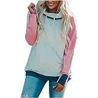DaySiswong Women's Casual Sweatshirts Long Sleeve Pocket Color Block Hoodies Pullover