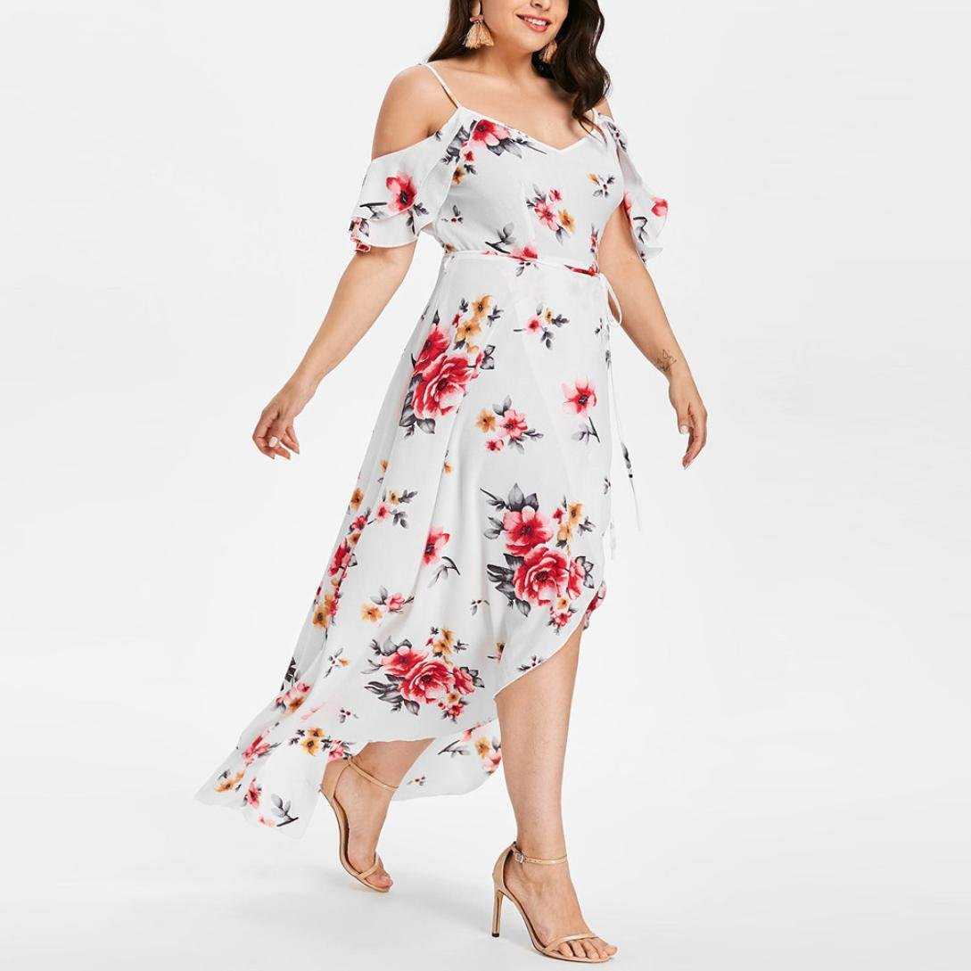 Amazon.com: Women Dress Daoroka Ladies Sexy V-Neck Plus Size Casual Loose Floral Boho Maxi Evening Party Prom Gown Skater Skirt (2XL, White): Beauty