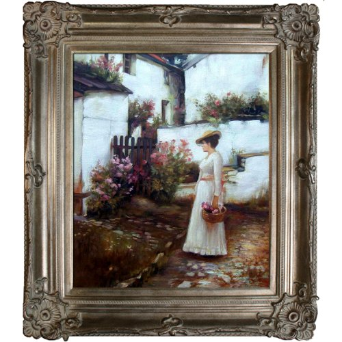 overstockArt Gathering Summer Flowers in a Devonshire Garden Framed Oil Reproduction of an Original Painting by John William Waterhouse, Renaissance Champagne Frame (Renaissance Champagne Frame)