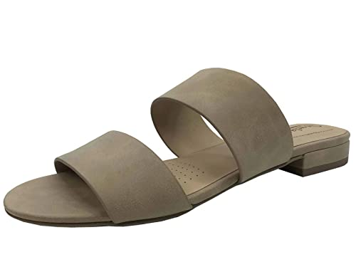 c52e07e85 Womens Two-Strap Low Heel Flat Slip-on Slide Sandal