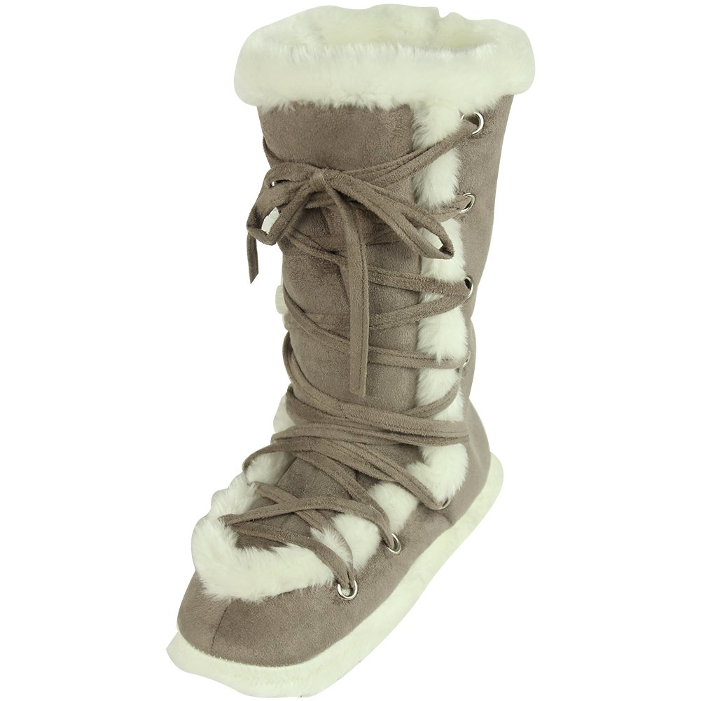 Home Slipper Womens Luxury Winter Warm Long Fleece Shoe Lace Design Indoor House Slippers Booties,US 7/8,Cameo Brown