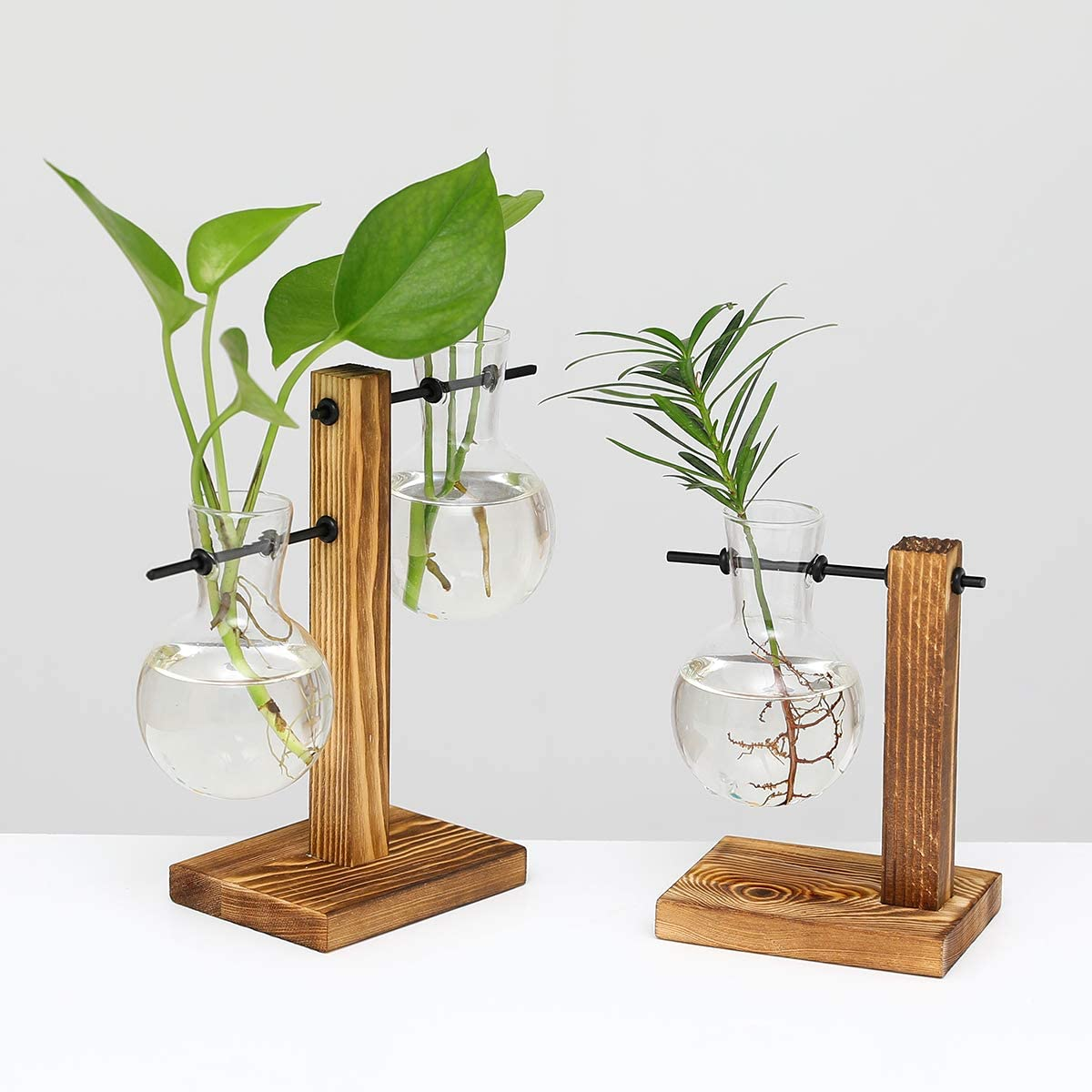 UWIOFF 2 Pack Plant Terrarium with Wooden Stand Air Planter Bulb Glass Vase Propogation Station for Hydroponics Plants Home Garden Office Decoration (3 Bulb Vase)