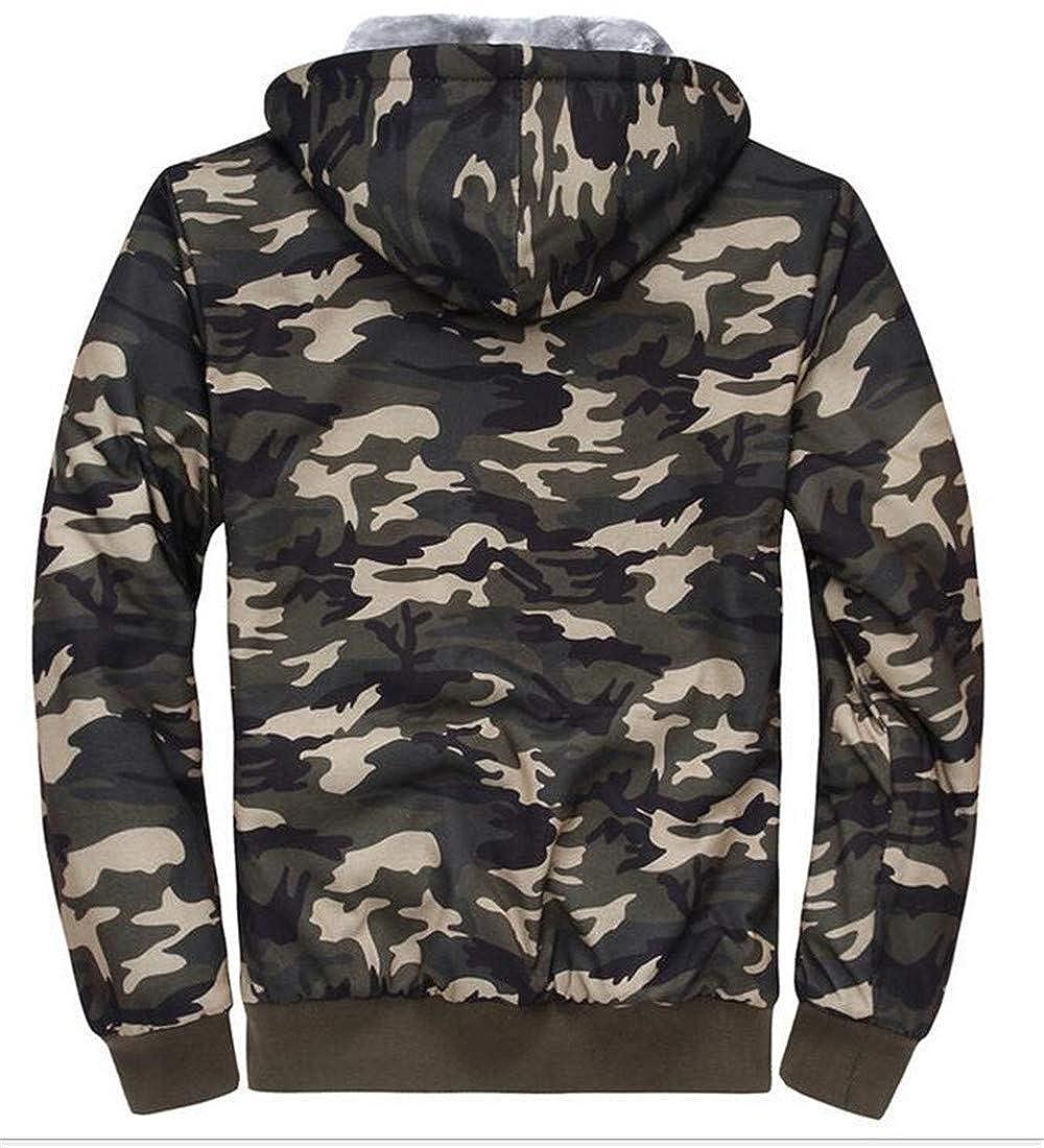 Cromoncent Men Winter Camo Hoodies Fleece Lined Zip-Up Sweatshirts Jacket