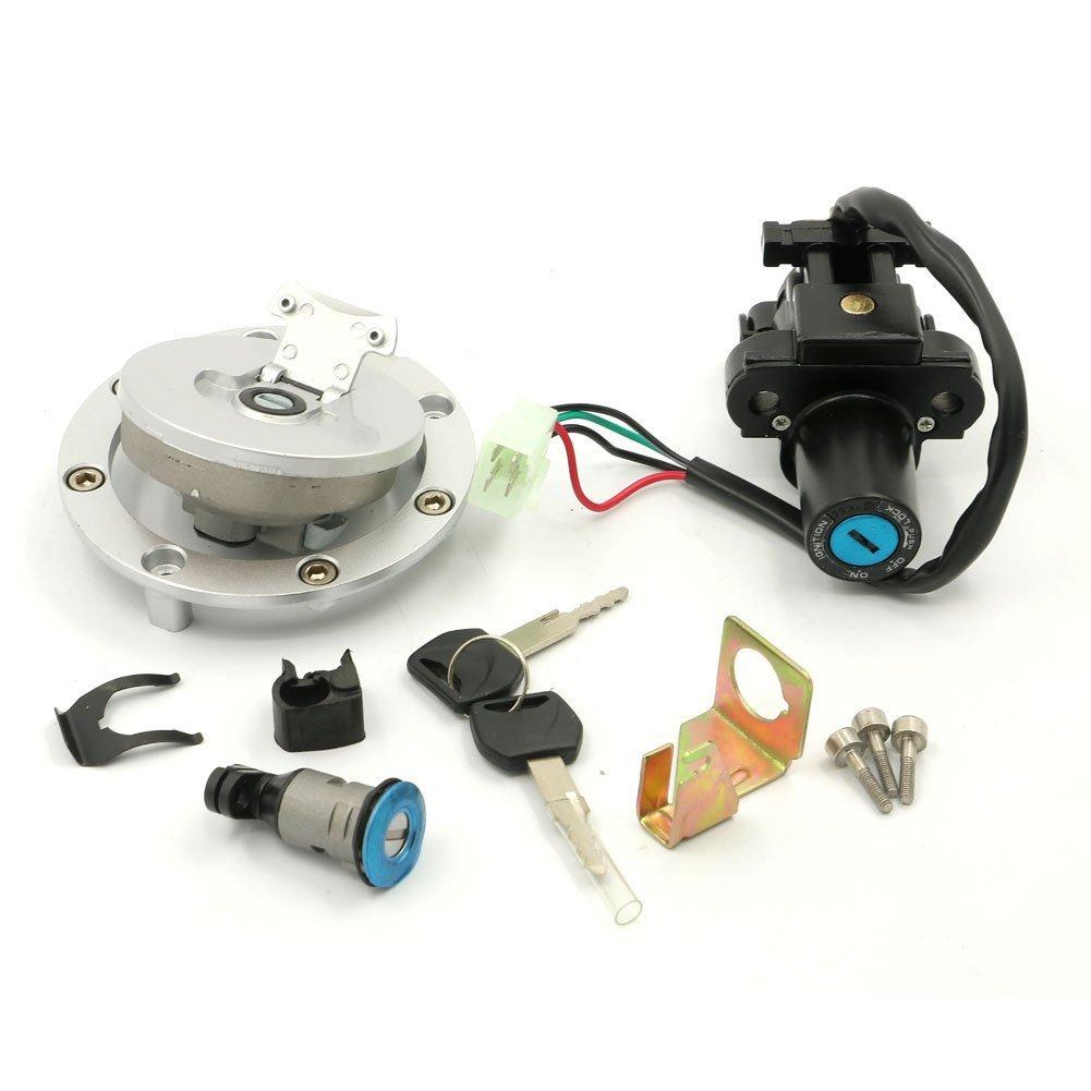 Alpha Rider Ignition Switch Fuel Gas Petrol Tank Cap Cover Lock Key Set for Honda VFR800 2003-2008 VTR1000F 1999-2005
