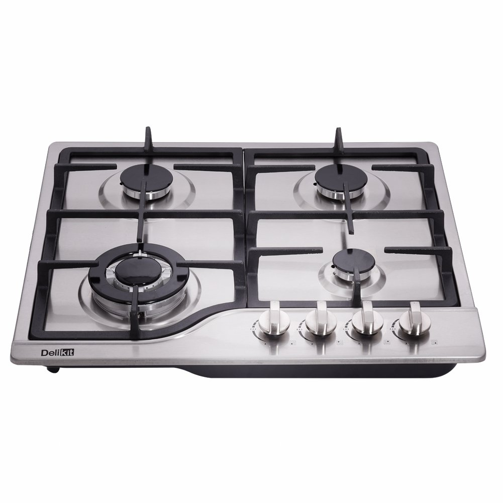 DeliKit DK245-A02 24 inch LPG/NG gas cooktop gas hob stovetop 4 Burners Dual Fuel 4 Sealed Burners Stainless Steel gas cooktop 4 burners Built-In gas hob 110V AC pulse ignition gas stove