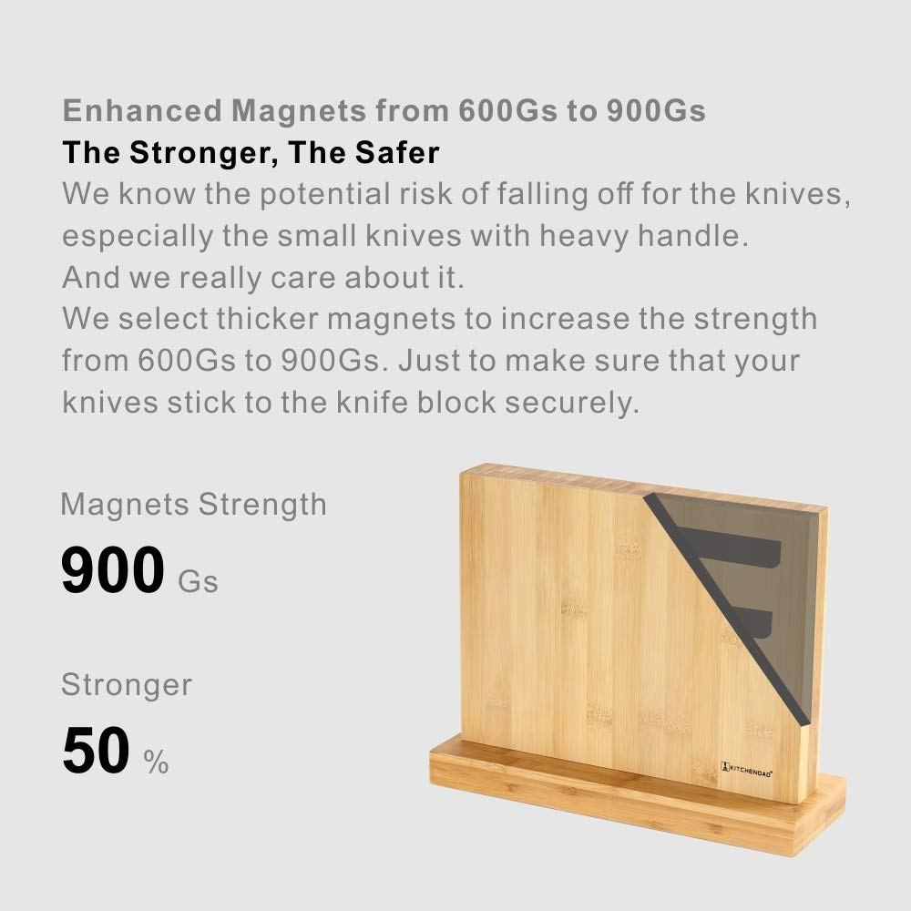 Luxury Magnetic Knife Block Holder with Enhanced Magnets, Eco-friendly Bamboo, Knife Organizer Block, Knife Dock, Cutlery Display Stand and Storage Rack, Large Capacity, Easy to Reach, Easy to Clean by KITCHENDAO (Image #3)