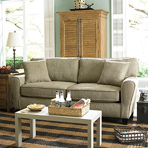 Sofab Angel II Chenille Sofa with 2 Toss Pillows, Pewter