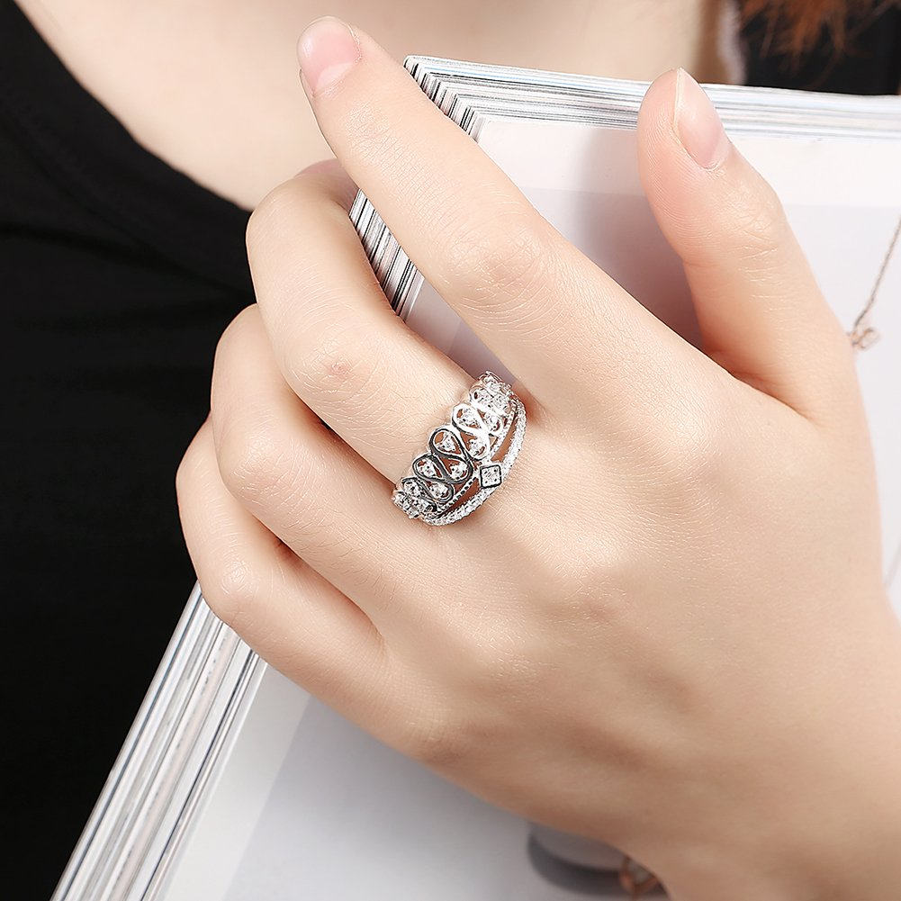 V-MONI S925 Silver King Crown Inlay Ring Jewelry Wholesaler