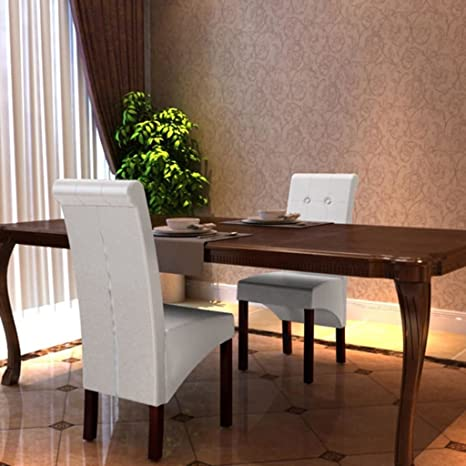 Super Amazon Com 2 Scroll Back Artificial Leather Wooden Dining Pabps2019 Chair Design Images Pabps2019Com