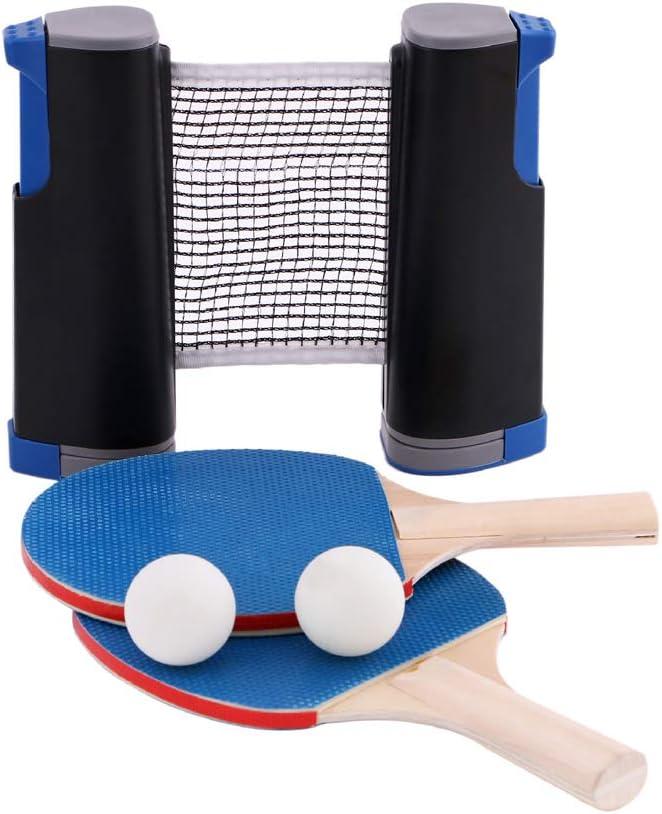 1 juego de red de tenis de mesa, 3 pelotas de ping-pong, 1 par de palas de tenis de mesa, accesorio retráctil instantáneo, accesorio portátil de sujeción
