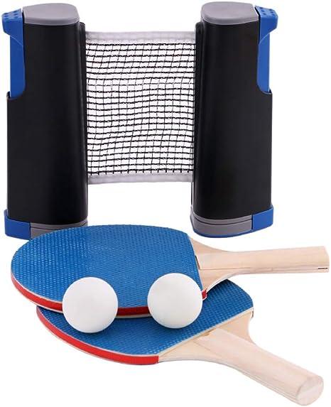1 juego de red de tenis de mesa, 3 pelotas de ping-pong, 1 par de palas de tenis de mesa, accesorio retráctil instantáneo, accesorio portátil de sujeción: Amazon.es: Deportes y aire libre