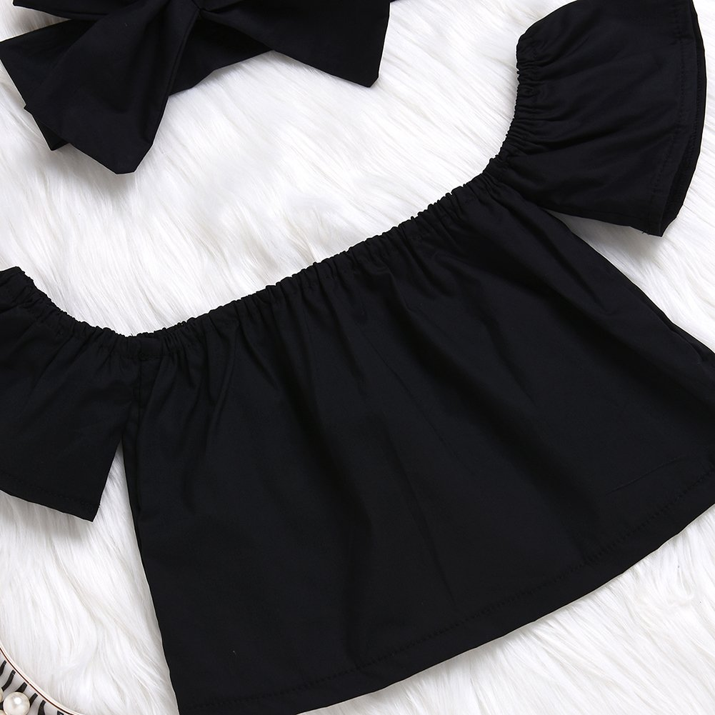 Imsmart Newborn Baby Girls Off Shoulder Halter Ruffles Boho Blouse top Bandage Headband Outfit Set