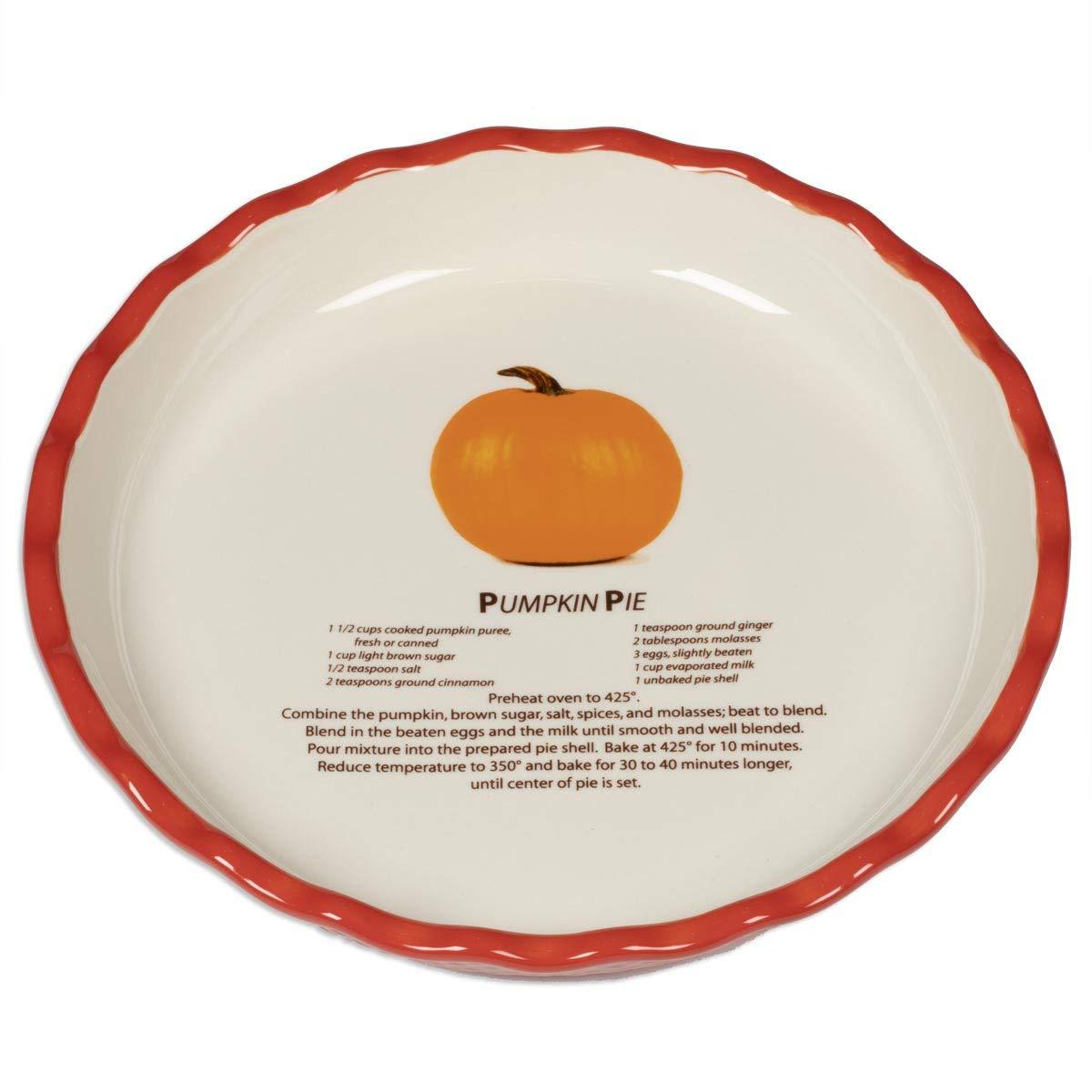 Harbottle House Round Ceramic Pie Pan Pans Plate Deep Dish 10 inch with Recipe (10'', Pumpkin Pie)