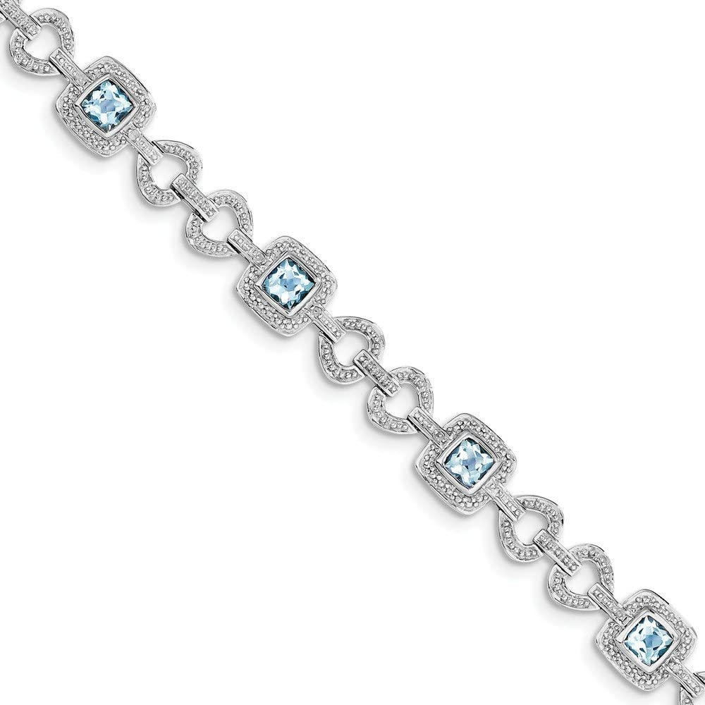 DIAMOND2DEAL INC Pulsera de Plata de Ley 925 chapada en rodio con topacio Azul Claro Suizo de Diamante, tamaño 18 cm