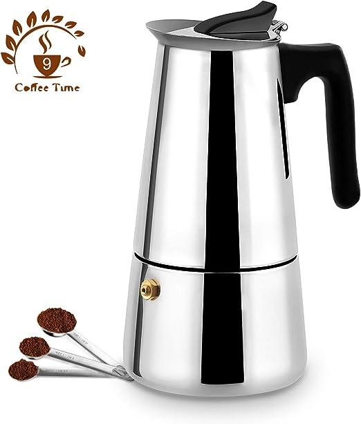 Amazon.com: Cafetera espresso de acero inoxidable para 9 ...