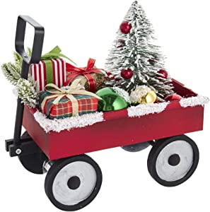 Kurt S. Adler 11.5-Inch Wooden Wagon with Presents and Tree Table Piece, Multi