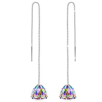 9dcf7e681b607 PN PRINCESS NINA Women's 925 Sterling Silver Chain ❤️Aurora Borealis❤️  Swarovski Crystals Drop Earrings, (with Gift Box, Soft Cloth)