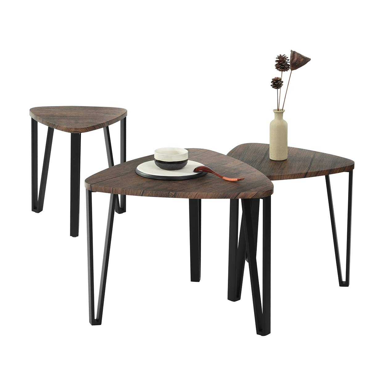 PexFix Nesting Coffee Table Set of 3, Industrial Style End Side Table for Living Room Stacking Sofa Snack Tables Leisure Wooden Nightstands for Home Office by PexFix