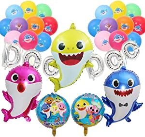Shark Balloons Baby Shark Helium Balloons DOO DOO Shark Balloon Banner Shark Foil Balloons Cute Shark Party Supplies for Sea World Shark Baby Themed Birthday Decorations Baby Shower Party Supplies