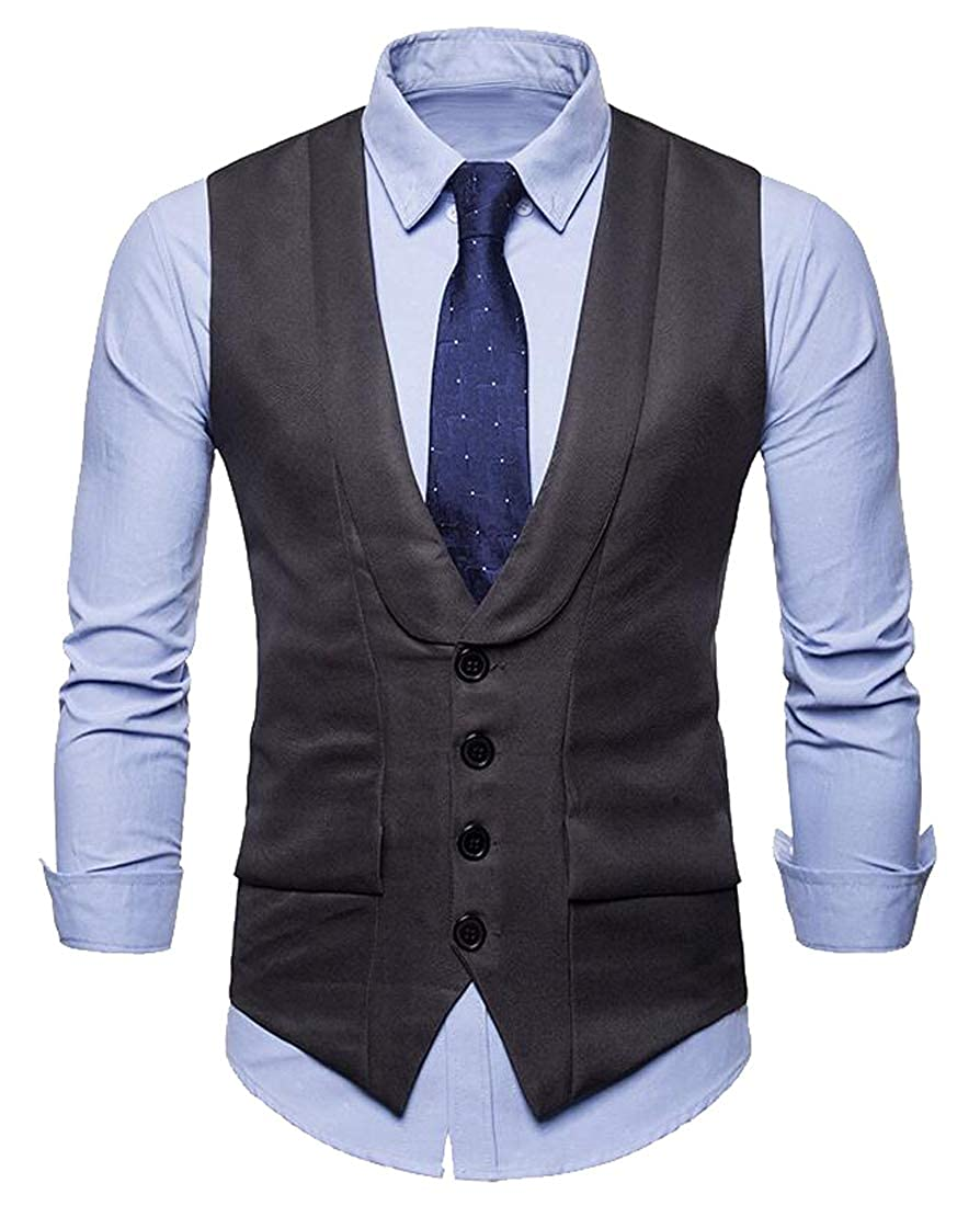 Heless Mens Plain Single-Breasted Formal Regular Fit Suit Dress Vest Waistcoat