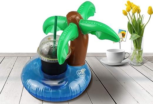 Paquet de 12 Porte-gobelets pour Boissons avec Cactus /à lananas gonflables de Palmier de Paume Supports de Boissons flottants