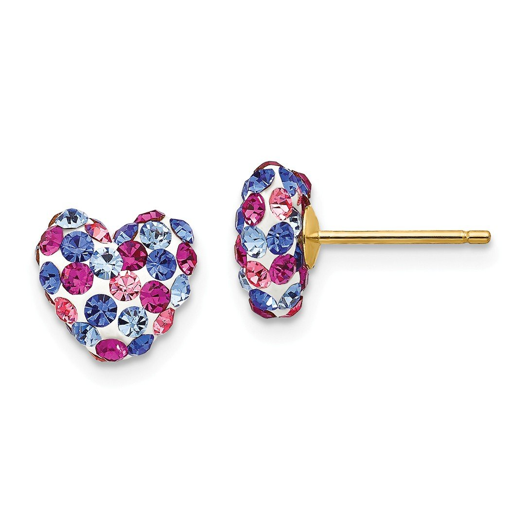 ICE CARATS 14kt Yellow Gold Blue Pink White Crystal 8mm Heart Post Stud Ball Button Earrings Love Fine Jewelry Ideal Gifts For Women Gift Set From Heart