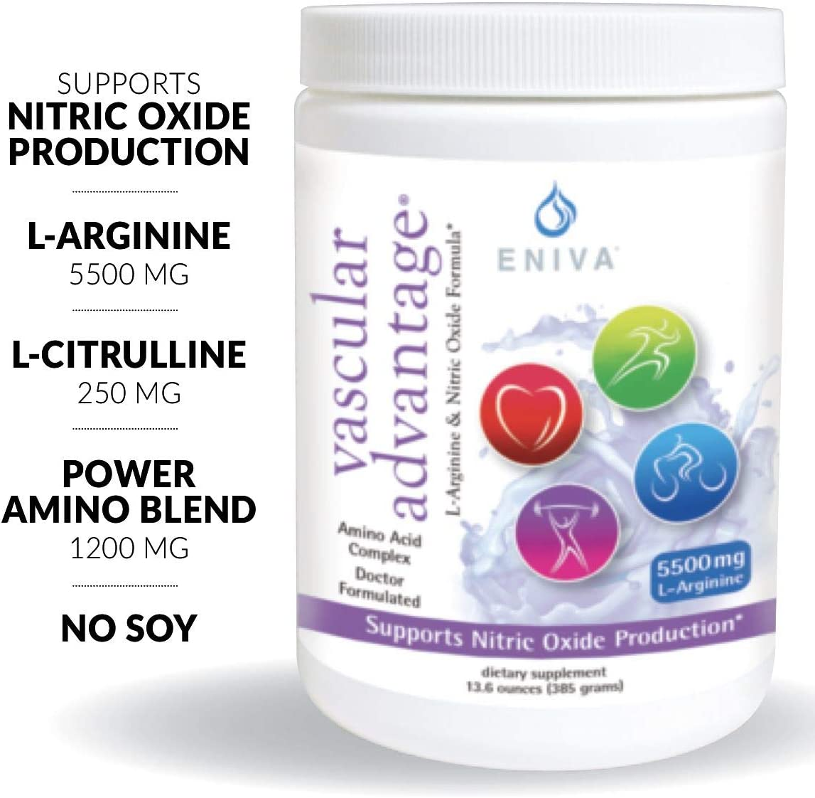 Eniva Pre Workout Nitric Oxide Powder. Extra Strength. 6,950mg Aminos Per Serving. Energy, Endurance, Circulation, Strength. Vegan. No Soy. Keto Friendly.