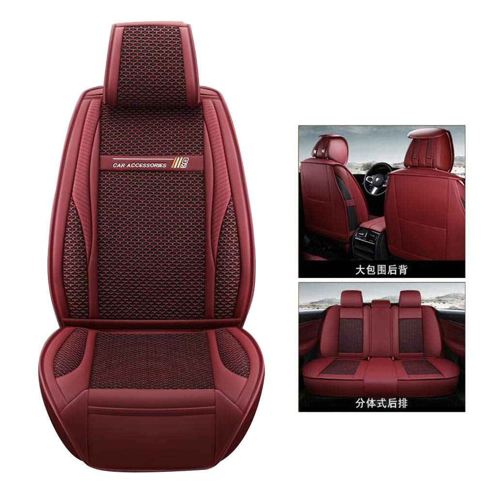 Automotive Car Seat Cushion Summer Car Seat Cover Fully Enclosed Car Seat Wear-Resistant Non-Slip 5-seat Car Seat (Color : Red, Size : 5 Seats)