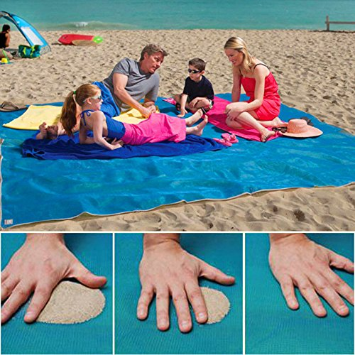 AMAZZANG-Product for home & garden Sandproof Waterproof Beach Towel Blanket 2017 (BLUE, - In Spanish Meaning Dolce
