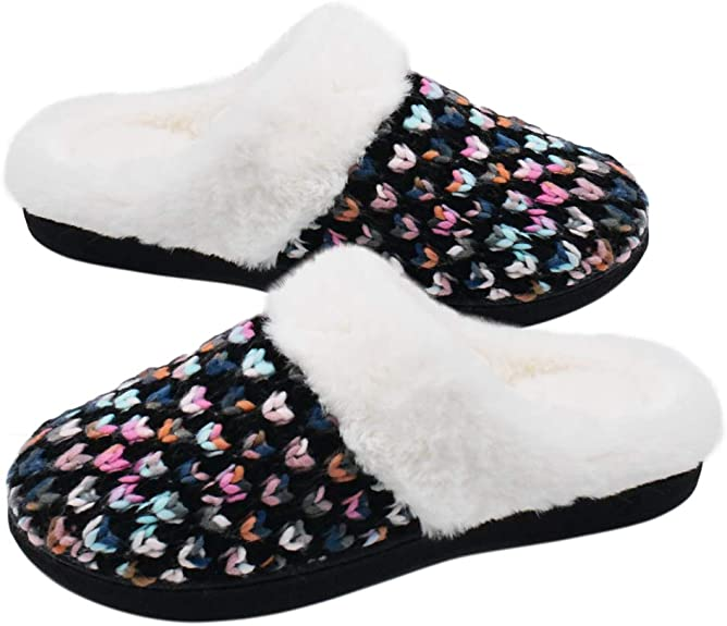 DL Knit-Womens-Slippers-Memory-Foam Furry, Faux Fur Lining Womens Slippers Indoor Outdoor, Fluffy Women House Slippers with Non-Slip Rubber Sole Arch Support