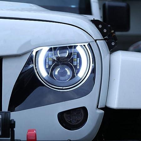 17,8/cm rotonda DRL faro lampeggiante RGB Angel Eye Halo anello Bluetooth controllato per Jeep Wrangler JK LJ CJ TJ TABEN 17,8/cm LED RGB